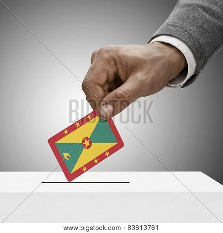 Black Male Holding Flag. Voting Concept - Grenada