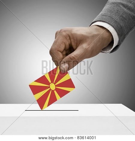 Black Male Holding Flag. Voting Concept - Republic Of Macedonia
