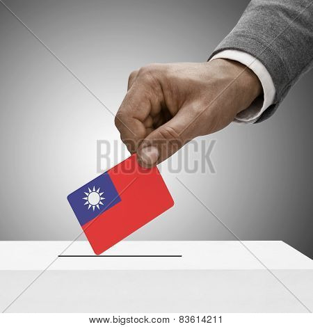 Black Male Holding Flag. Voting Concept - Republic Of China - Taiwan