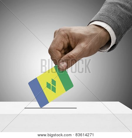 Black Male Holding Flag. Voting Concept - Saint Vincent And The Grenadines