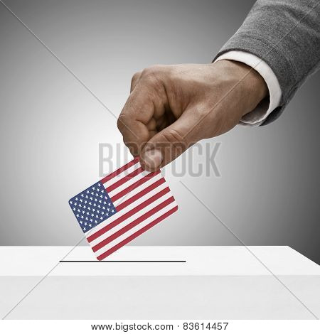 Black Male Holding Flag. Voting Concept - United States