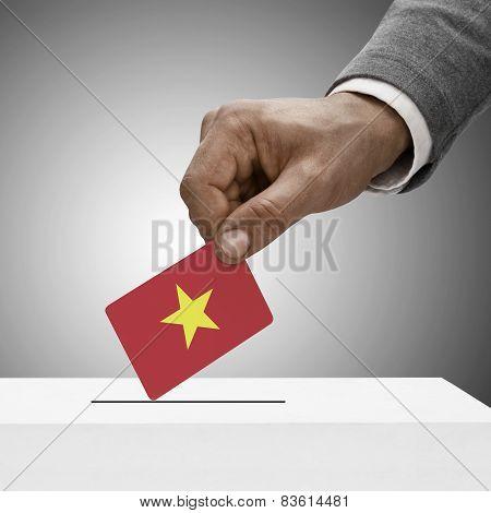 Black Male Holding Flag. Voting Concept - Vietnam