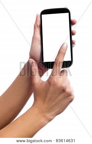 Hand Touching The Screen Of A Smartphone