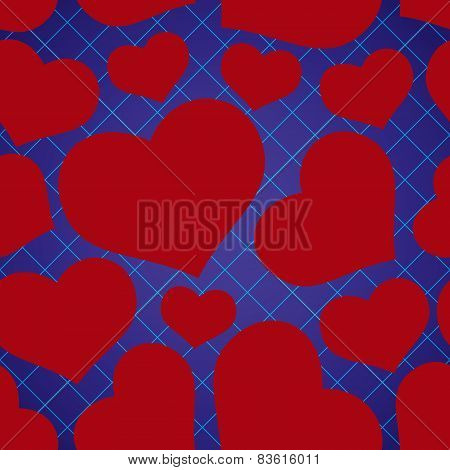 Abstract Checkered Blue Seamless Pattern With Red Love Heart Eps10