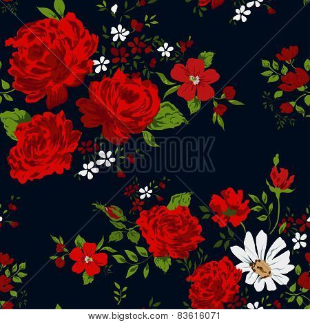 Seamless floral pattern with of red roses on black background.