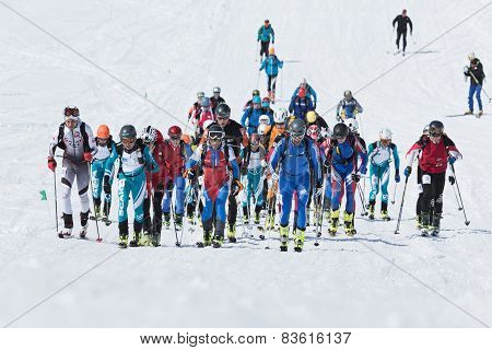 Ski Mountaineering Championships: Group Of Ski Mountaineer climb To Mountain On Skis