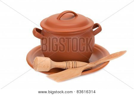 Clay Pot, Wooden Utensils On A Plate