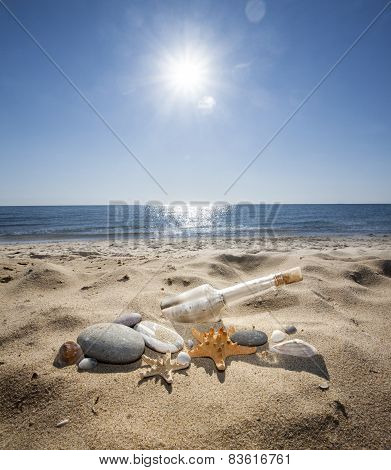 Bottle On A Sand