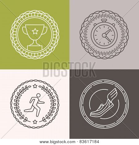 Vector Linear Runnig Badges