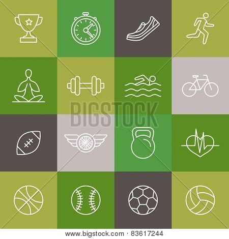 Vector Linear Sport And Fitness Icons And Signs
