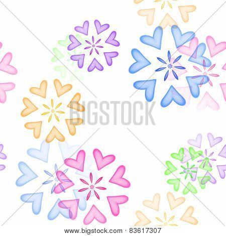 Seamless Colored Heart Ornaments On White