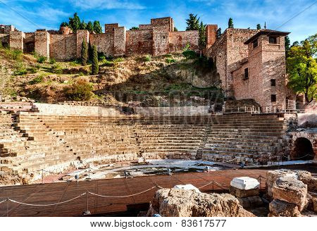 The Roman Theatre In Malaga. Andalusia, Spain