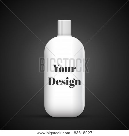 Cosmetic Or Hygiene Grayscale White Gray Chrome Lid Plastic Bottle Of Gel, Liquid Soap, Lotion, Crea