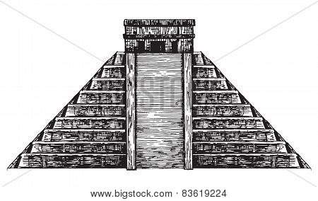 Mexico. Mexican pyramid on a white background. sketch