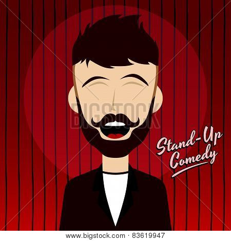 hilarious guy stand up comedian cartoon