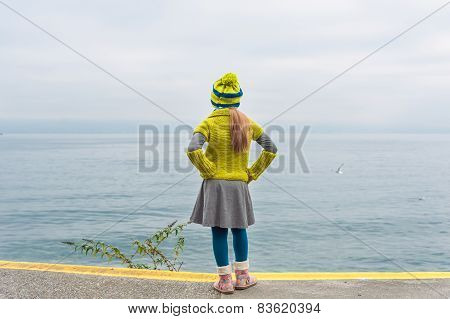 Cute little girl standing next to beautiful lake on a cold day, back view, wearing warm knit pullove