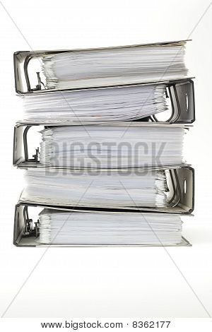 Stack of office ring binders