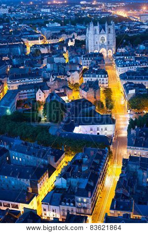 Aerial View Of Nantes City At Night