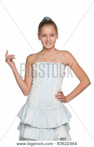 Smiling Blonde Girl Against The White