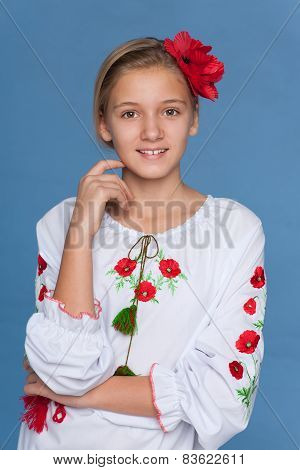 Ukrainian Girl Against The Blue Background