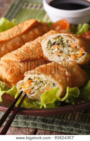 Fried Spring Rolls Stuffed With Vegetables Close-up. Vertical