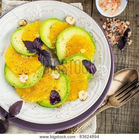 Appetizer of avocado and orange