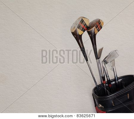 Retro golf clubs in the bag