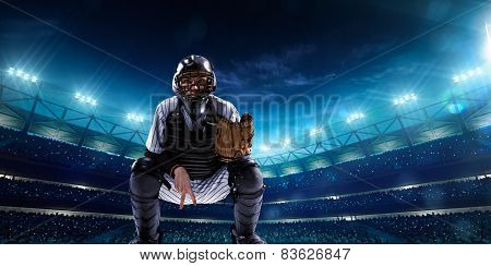 Professional baseball players on night grand arena