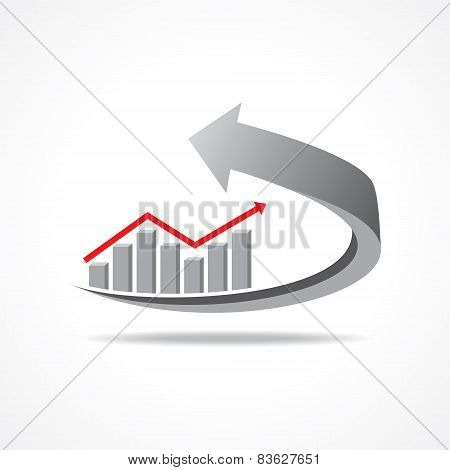 Vector Illustration of business graph on arrow