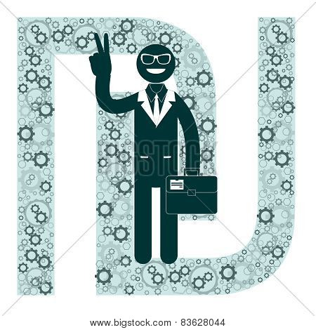 Businessman and sign shekel, vector illustration