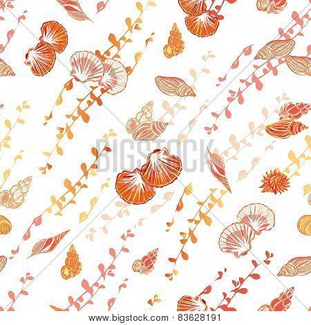 Sunny sea shore seamless vector pattern