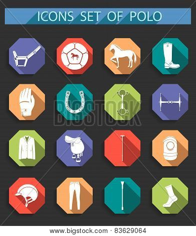 Vector Set Of Icons Polo In Flat Style