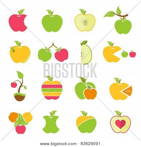 Vector Set Of Icons Of Apples