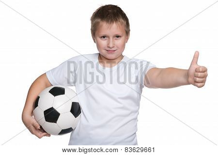 Happy Young Boy With Soccer Ball