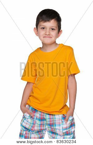 Naughty Young Boy In A Yellow Shirt