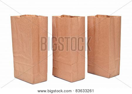 Opened Paper Bags In A Row