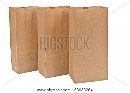 Close Up Of Brown Paper Bags In A Row