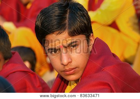 Young Novice On Ganga Aarti Ceremony In Parmarth Niketan Ashram