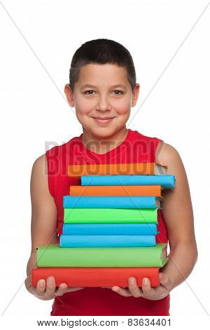 Happy Young Boy Holds Books
