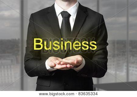 Businessman Begging Gesture Golden Business Symbol