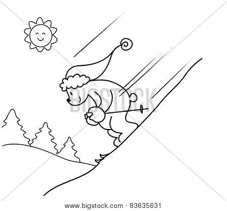 Coloring Skiing bear