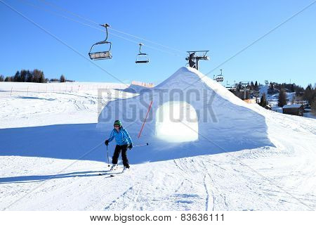 Woman Is Skiing In A Snow Park