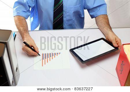 Working On A Modern Office Desk