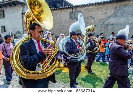 Musicians At Rear Of Palm Sunday Procession, Antigua, Guatemala