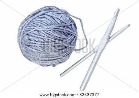 Woollen Ball With Needle On White