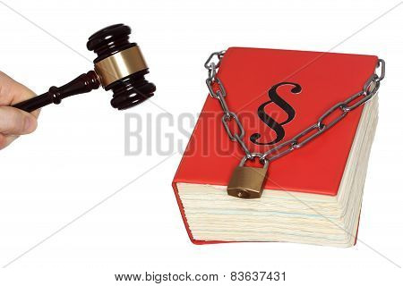 Gavel And Law Book With Chain