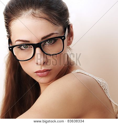 Beautiful Successful Woman In Black Eyeglasses Looking Sexy. Closeup