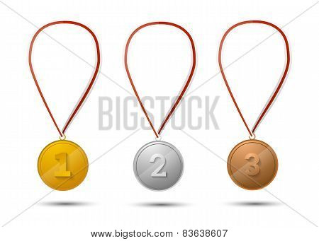 Set of gold, silver and bronze medals on white
