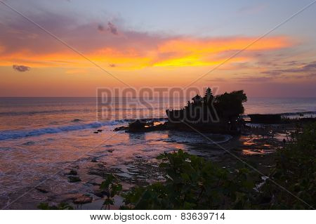 Balinese Hindu Temple Tanah Lot At Sunset