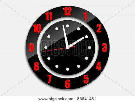 Black Clock With Arrows And Numerals Isolated